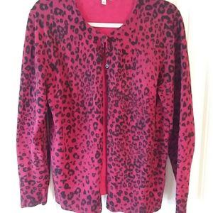 Women's leopard print cardigan sweater